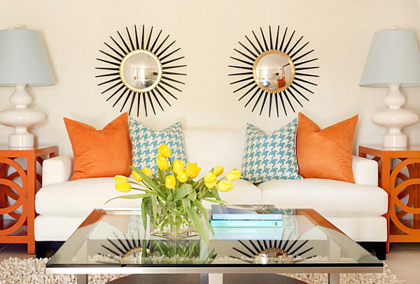 innendesign ideen orange farbe sofa wohnbereich deko kissen