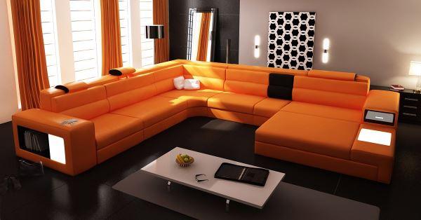 innendesign ideen orange farbe sofa wohnzimmer ecksofa gardinene
