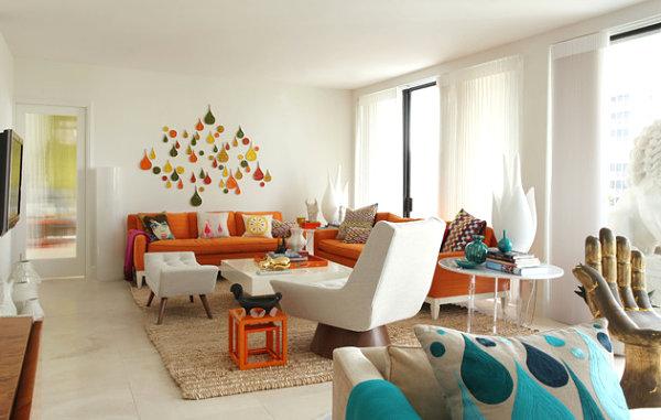 innendesign ideen orange farbe sofa wohnzimmer farbakzente