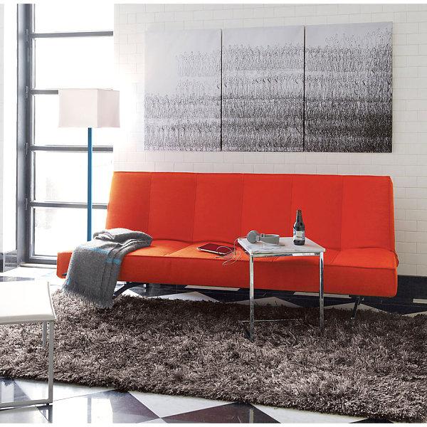 Innendesign Ideen Orange Farbe Sofa Wohnzimmer Klappsofa