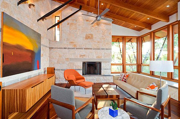 innendesign ideen orange farbe sofa wohnzimmer sessel