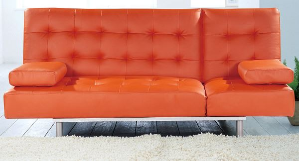 innendesign ideen orange farbe sofa wohnzimmer