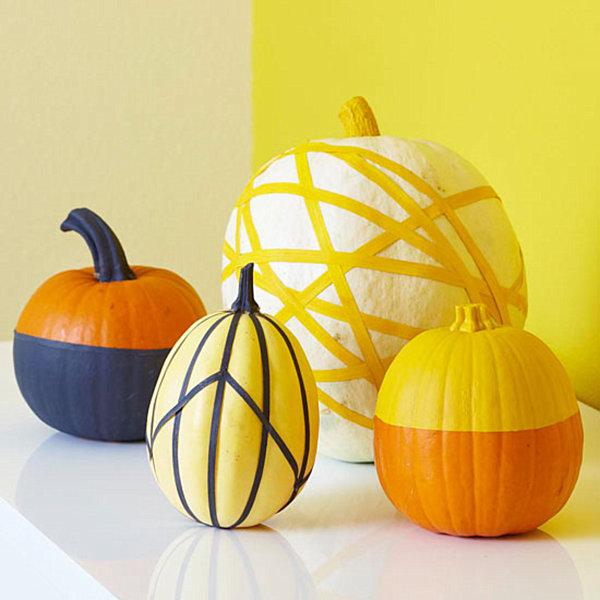 kürbis dekoideen in gelb und orange mit streifen