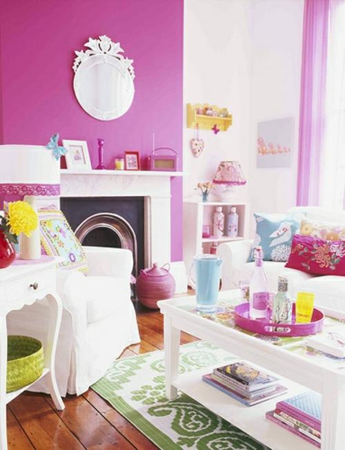 kamin dekoration pinke akzentwand