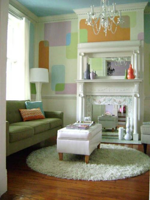 kamin dekoration runder hochfloriger teppich in weiß