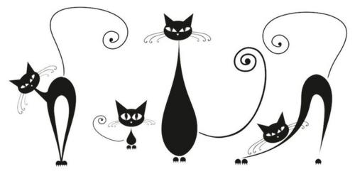 Katzen deko widmen sie ihre dekoration dem thema katze - Katzen wandtattoo ...