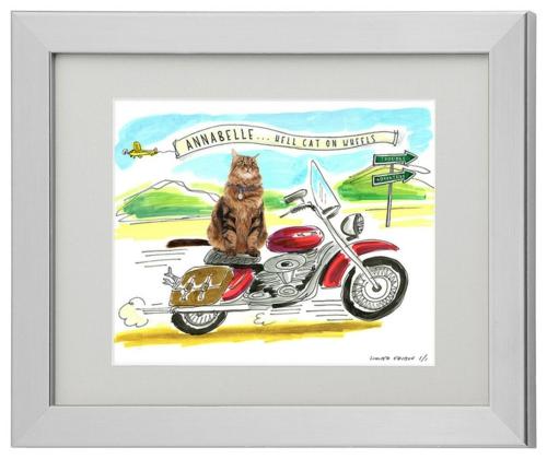 katzen deko eigene katze foto auf dem motorrad