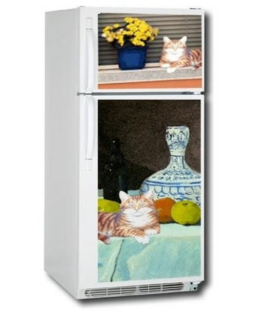 katzen deko kühlschrankdekoration bunte fotos