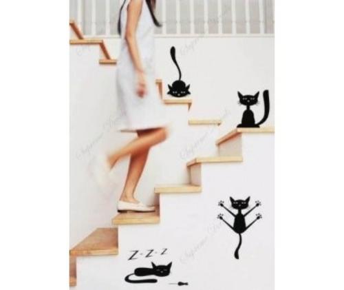 katzen deko lustige wanddekoration an der treppe