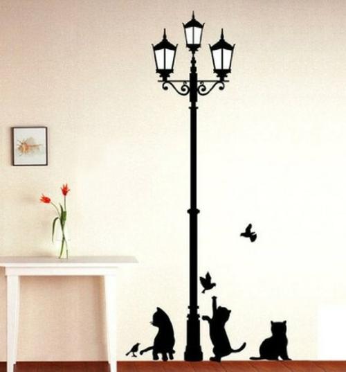 katzen deko wanddekoration straßenlaterne mit katzen und vögeln