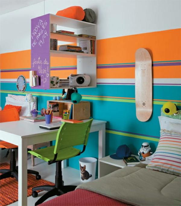 Kinderzimmer Komplett Breite Streifen In Blau Und Orange Kinderzimmer  Komplett Gestalten U2013 Wenn Junge Und Mädchen ...