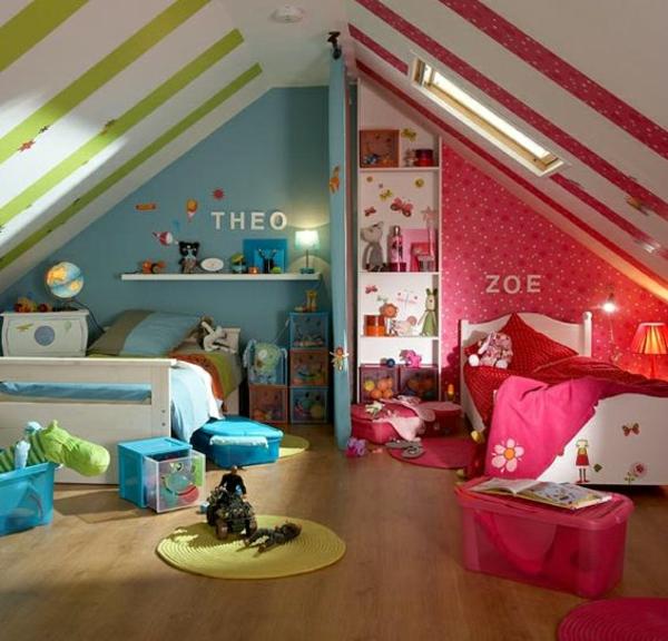 Kinderzimmer Komplett Für Junge Und Mädchen Im Dachgeschoss