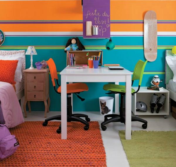 kinderzimmer komplett gestalten - junge und mädchen teilen ein zimmer - Kinderzimmer Orange Blau