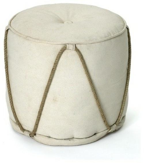 leseecke einrichten runder weißer hocker mit seil