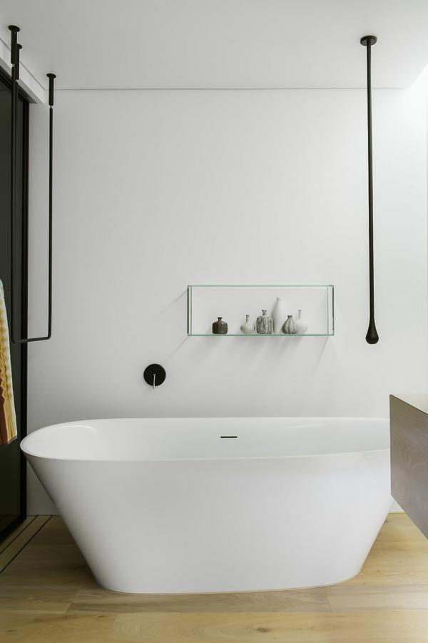 luxus badezimmer minimalistisch mit freistehender badewanne