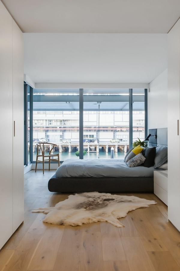 luxus badezimmer panoramafenster im schlafzimmer