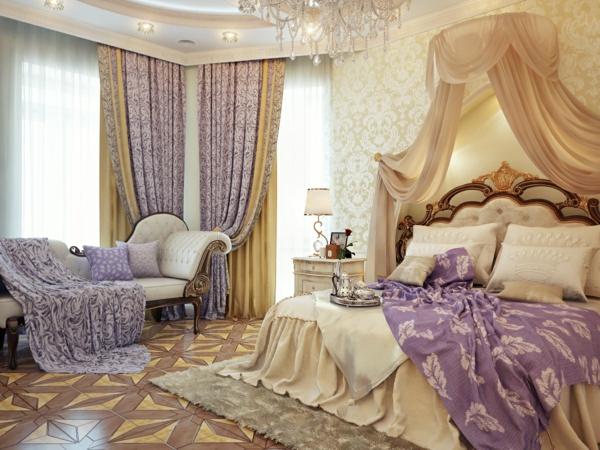 luxus einrichtungsideen abgehängte zimmerdecke und lavendelfarbene vorhänge