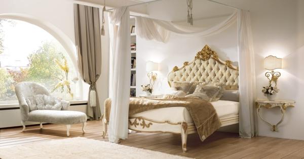 luxus einrichtungsideen elegantes himmelbett mit weißen gardinen