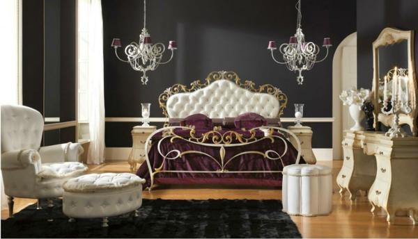 luxus einrichtungsideen königliches bett mit gold