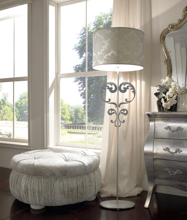 luxus einrichtungsideen kuschelweicher runder hocker mit samt bezogen