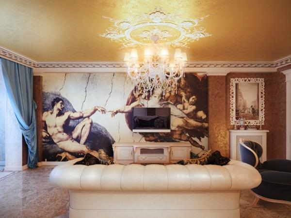luxus einrichtungsideen wandverzierung abbildung michelangelo kunst