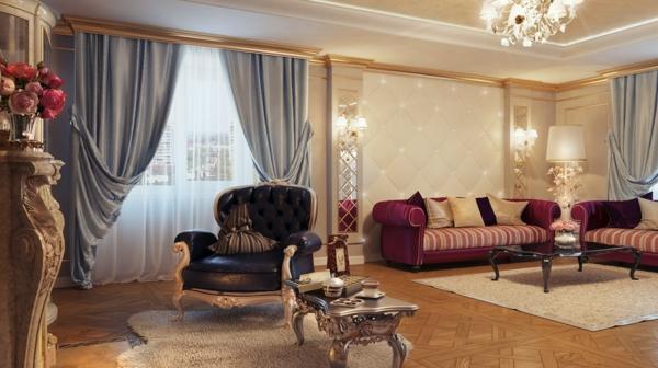 luxus einrichtungsideen weinrote sofas mit gestreifter polsterung