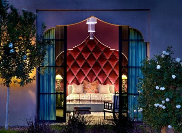 marokkanisches schickes haus doppelbett mit kopfteil aus samt