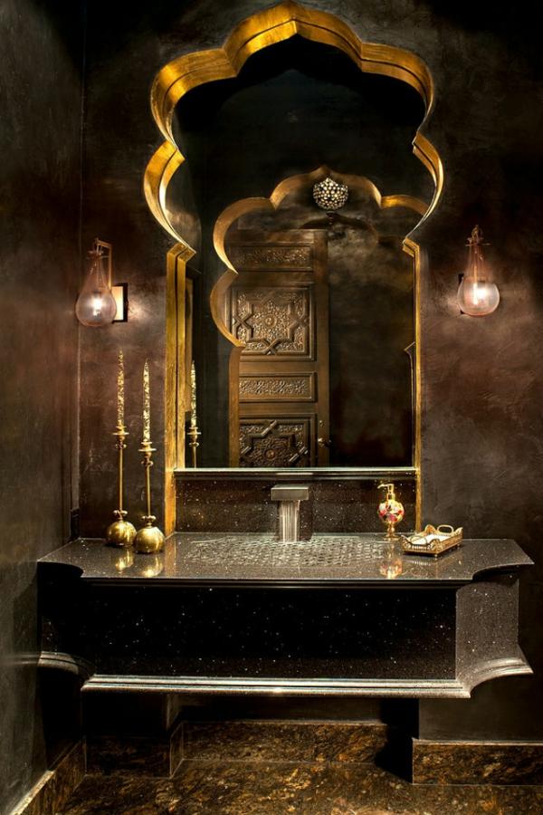 marokkanisches haus schwarzer granit und blattgold