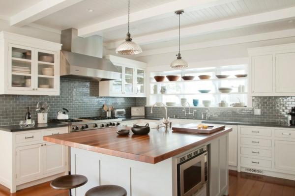 moderne hausgestaltung kuchenruckwand mit grauen wandfliesen