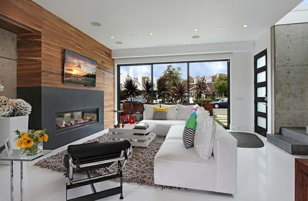moderne luxusvilla grauer hochfloriger teppich