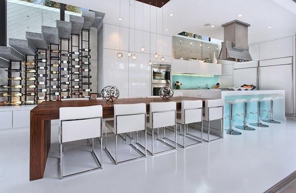 moderne coole luxusvilla kücheninselmit essbereich