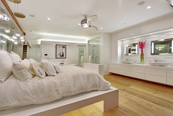 moderne luxusvilla offener grundriss schlafzimmer und bad