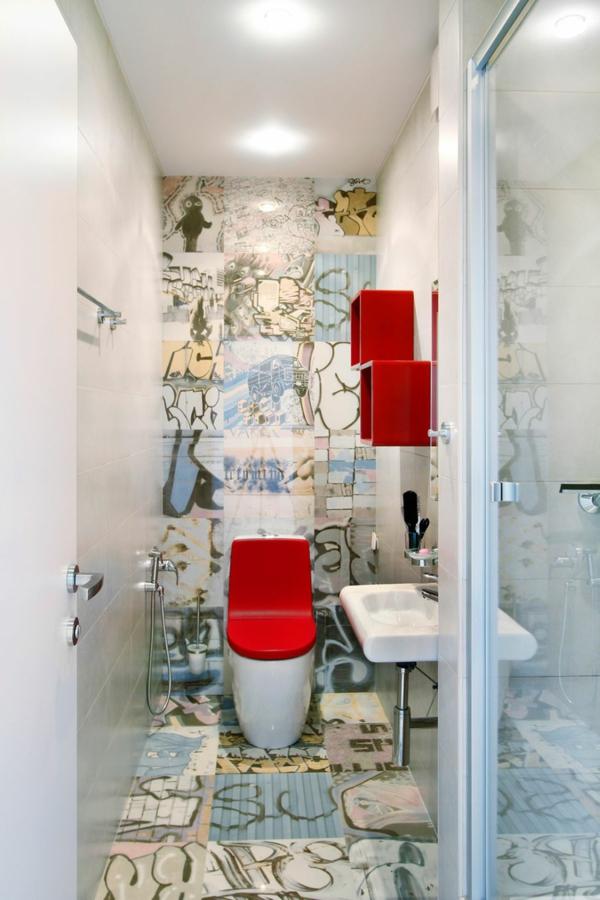 modernes apartment graffiti auf der toilette