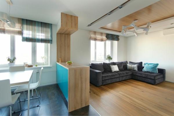 modernes apartment kücheninsel trennwand aus hellem holz