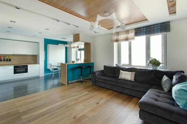 modernes apartment offener grundriss mit blauen akzenten