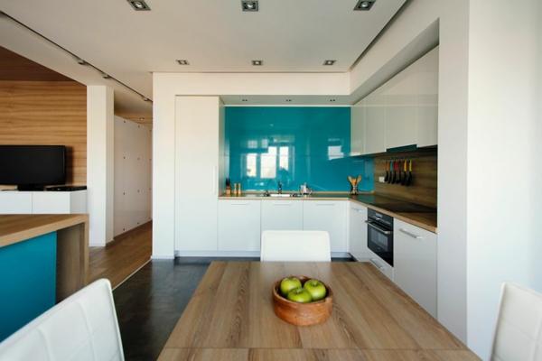 modernes cooles apartment robuster esstisch aus holz