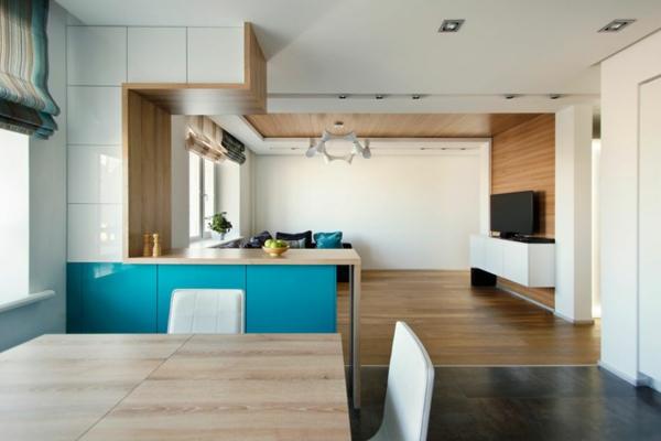 modernes apartment schrankfrontenin hochglanz weiß und blau