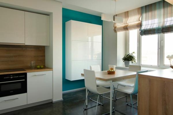 modernes apartment schwebender küchenschrank glänzend weiß
