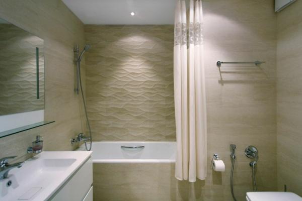 modernes apartment wandfliesen sandfarbe im bad