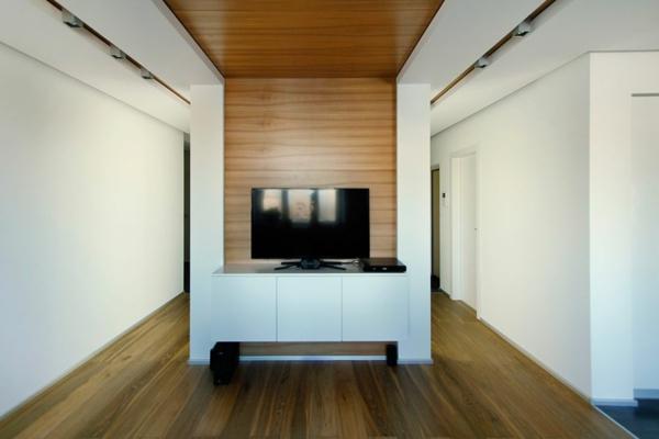 modernes apartment zwischenwand mit fernseher