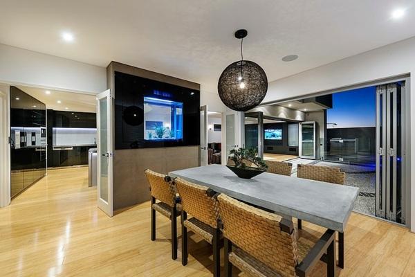 modernes architektenhaus in der australischen metropole perth innenarchitektur ideen - Modernes Wohnzimmer Mit Essbereich