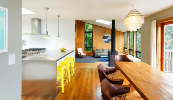modernes designer haus essbereich küche kamin stuhl holz