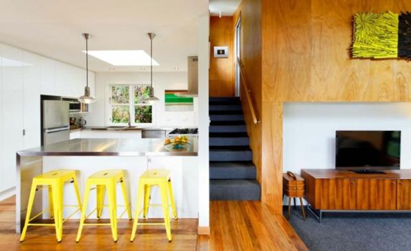 modernes designer haus gelb küche kücheninsel stuhl holz