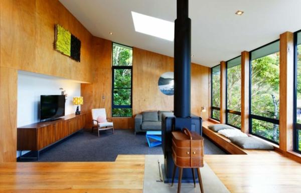 modernes designer haus wohnbereich kamin fenster holz