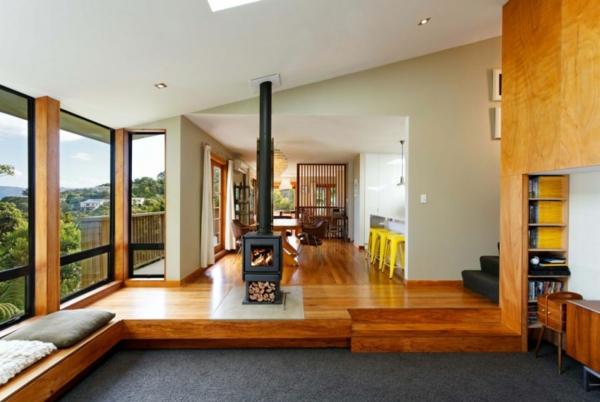 modernes designer haus wohnbereich kamin fenster
