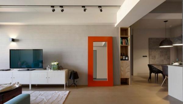 Modernes Wohnen Großer Spiegel Mit Breitem Holzrahmen In Orange