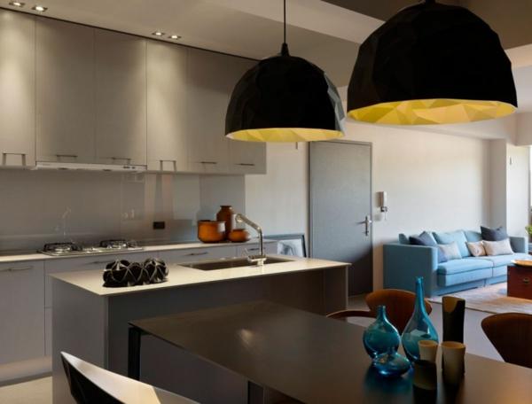 modernes wohnen schalenförmige pendelleuchten in schwarz und zitronengelb