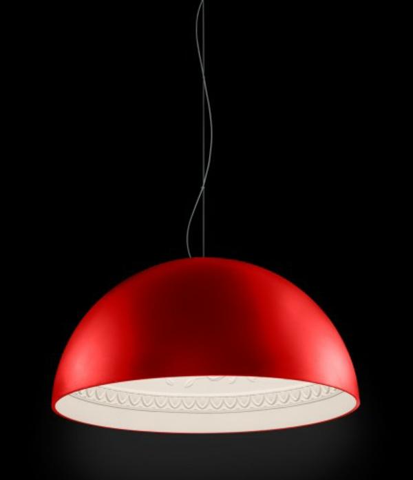 porzellan pendelleuchte schalenförmig in rot