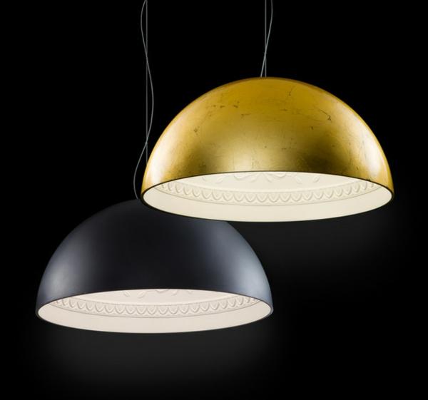 porzellan pendelleuchte von metal lux in schwarz und gold