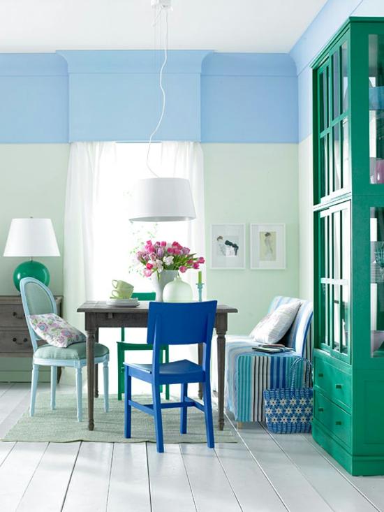 raumgestaltung mit farben blau grün schrank wandfarbe pastell